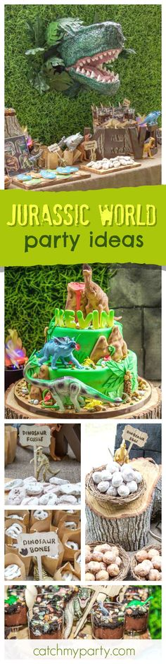 Check out this fun Jurassic World Birthday party! The backdrop with a TRex popping out is so cool! See more party ideas and share yours at CatchMyParty.com