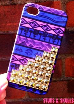 Purple Tribal Gold Dotted Pyramid Studded iPhone 4 Cases for Girls