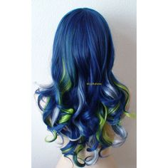 Blue Wig Navy Blue Green Silver Color Long Curly Hairstyle Wig Durable... ($180) ❤ liked on Polyvore featuring beauty products, haircare, hair styling tools, hair and curly hair care
