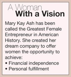 A woman with a vision