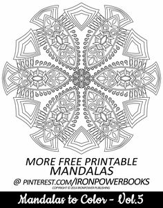 FREE Printable Mandala Coloring Page from @ironpowerbooks ' Mandalas to Color - Volume 5 available at http://www.amazon.com/Mandalas-Color-Mandala-Coloring-Adults/dp/149733716X | Book with 49 more Advanced Mandalas Coloring Pages for Adults | Hi @lobby2906 ! It will be awesome to share your colored works with us!  Happy Pinning! #mandala #coloringpages #print #free  | Please use freely for personal non-commercial use