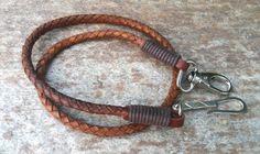 Hombres de cuero cartera cadena hombres de cuero accesorios hombres cordón de cuero trenzado de cuero marrón o negro 925 plata de ley hecho a mano gancho