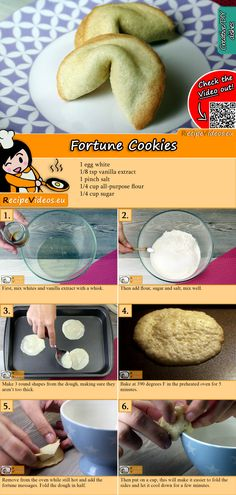 Fortune Cookies Recipe With Video - Simple Recipes- You can also bake the fortune cookies known from Chinese restaurants at home! You can easily find the fortune cookie recipe video with the help of the QR code 🙂 # Fortune Cookies - Oatmeal Cookie Recipes, Easy Cookie Recipes, Simple Recipes, Chocolate Chip Cookies, Chocolate Cookie Recipes, Cookies And Cream Cake, Cake Mix Cookies, Clear Up, Gastronomia