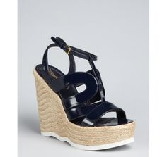 Yves Saint Laurent navy patent leather strappy wedge 'Saint Malo' espadrilles