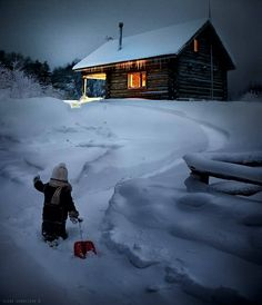 Elena Shumilova's magical, wintry photography: Boy trekking through snow to cabin I Love Winter, Winter Snow, Winter Cabin, Cozy Cabin, Winter Scenery, Snow Scenes, Winter Pictures, Cabins In The Woods, Winter Landscape