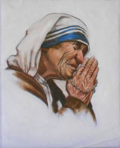 Vintage 'Mother Teresa' Portrait, Original Oil Painting on Canvas, Religious Sainthood Artwork . . . By CoolOldStuffForSale . . . A very moving portrait of a praying Mother Teresa, an original full color vintage oil painting. Mother Teresa will become canonized into Sainthood this year by Pope Francis!