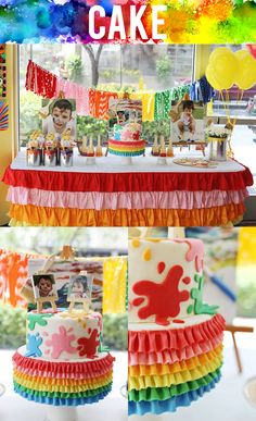 Colorful art themed painting birthday party. This ruffled rainbow paint splatter cake is impressive!