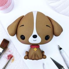 New Dogs Cake Fondant Polymer Clay Ideas Dog Cake Topper, Fondant Cake Toppers, Fondant Cakes, Cute Polymer Clay, Cute Clay, Polymer Clay Crafts, Fondant Figures Tutorial, Cake Topper Tutorial, Fondant Flower Cake