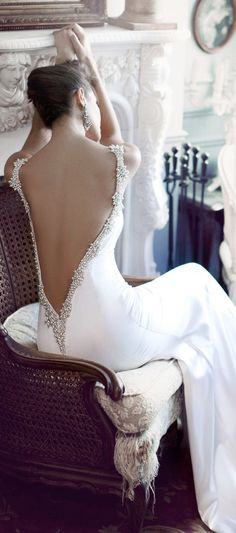 Wedding Dress. Backless Dress. White. Black and White