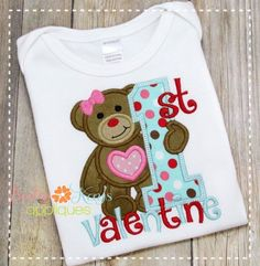 This cute little bear is ready for her first Valentine. Great for any little one celebrating their very first Valentine's Day!