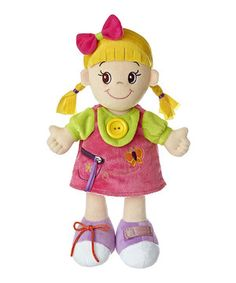 Give a little one a new friend to play with and teach them about buttons, zippers, shoe laces and hook and loop clasps with this fun doll.