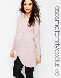 Image 1 ofASOS Maternity NURSING Wrap Over Jumper In Textured Stripe With 3/4 Sleeve