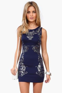 Midnight Blue Empire Dress - Silver Accents