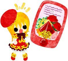 母の日のフリーイラスト素材可愛い女の子とカーネーションのスマートフォン  Free Illustration of Mothers day A cute girl and a smart phone of carnations   http://ift.tt/2qowzdr