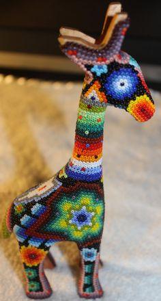 Huichol Giraffe Animal Figure Decor by HuicholArte on Etsy Beaded Animals, Metal Beads, Bead Art, Karma, Art Forms, Giraffe, Beading, O Beads, Felt Giraffe