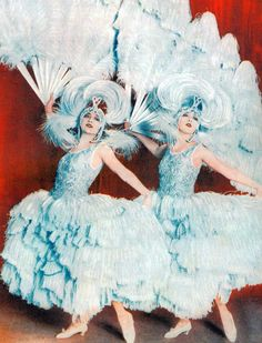 The Dolly Sisters in their feather creations by Patou, Oh Les Belles Filles, Palace Theatre, Paris, 1923 June Haver, Dolly Sisters, Ziegfeld Follies, Blue Garden, Jazz Age, Old Soul, Girls Show, Showgirls, Burlesque
