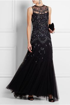 Black tulle Concealed hook and zip fastening at back 100% nylon; lining: 100% polyester Dry clean