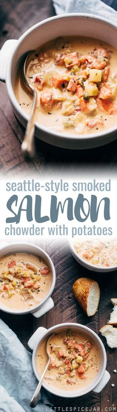 Seattle Style Smoked Salmon Chowder -The creamiest coziest bowl of homemade smoked salmon chowder you'll ever have! This chowder is naturally thickened with potatoes and is super luxurious! Chowder Recipes, Soup Recipes, Cooking Recipes, Healthy Recipes, Fish Dishes, Seafood Dishes, Fish Recipes, Seafood Recipes, Sandwich Recipes