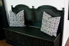 Headboard repurpose - into a bench.  Hinged top would be great added storage.