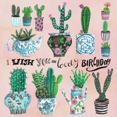Verjaardagskaart cactus Birthday, verkrijgbaar bij #kaartje2go voor €1,89