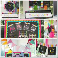 Rainbow Chalkboard Collage1 by Schoolgirl Style