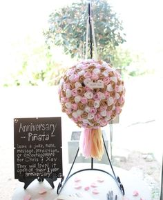 "Instead of a guestbook, have your guests leave a message for you in an ""anniversary piñata."""