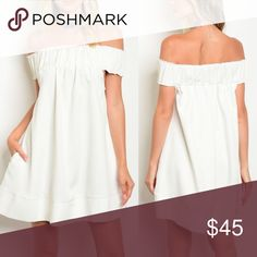 LAST - LILY Off Shoulder Dress - IVORY Cute dress with pockets. 100% polyester. Bellanblue Dresses Mini