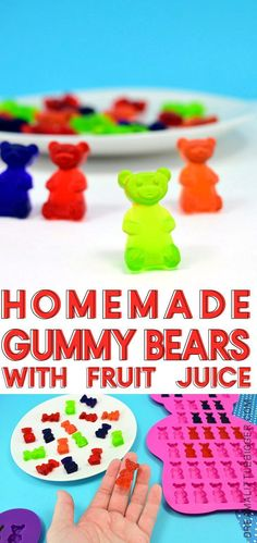 Easily make homemade gummy candy at home using your favorite fruit juice and any silicone mold you please from gummy bears to hearts to holiday shapes! Making Gummy Bears, Best Gummy Bears, Homemade Gummy Bears, Homemade Gummies, Homemade Candies, Homemade Recipe, Homemade Candy Recipes, Homemade Food, How To Make Gummies