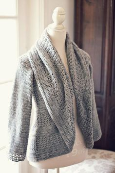 (4) Name: 'Crocheting : Ladies' Shrug Cardigan