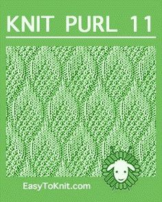 Pine Cone stitch, Easy Knit Purl Pattern - be crafty Loom Knitting Stitches, Lace Knitting Patterns, Knitting Charts, Easy Knitting, Knitting Designs, Stitch Patterns, Knitting Squares, Knitting Kits, Weaving Patterns