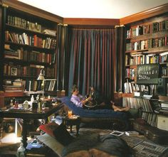 """from """"Living with Books"""" - Keith Richards' home library ... """"The library was the only place around where I willingly obeyed the rules."""""""