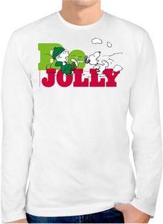 Snoopy Be Jolly Kendin Tasarla - Erkek Bisiklet Yaka Tişört Uzun Kollu