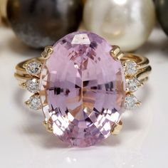Gorgeous 13.32 CTW Estate Natural Pink Kunzite and Diamond Women Ring Made in 14K Solid Yellow Gold  New Listing on eBay http://ebay.to/1INnLVM  Current bid:US $26.00