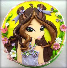 winx cake Fondant Cakes, Cupcake Cakes, Cupcakes, Beautiful Cakes, Amazing Cakes, Fairy Birthday, 5th Birthday, Birthday Cakes, Bratz