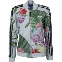 Adidas Originals Train Floral Tt ($100) ❤ liked on Polyvore featuring tops, jumpers & cardigans, multicolour, womens-fashion, zip top, flower print top, floral print top, zipper top and multi color tops