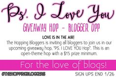 Thank you for your interest in the P.S. I Love You Giveaway Hop. This giveaway hop […]