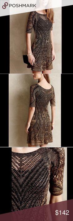 Cecilia Prado Metallic Open Knit Sweater Dress M Stunning Cecilia Prado Knit Sweater Dress, Size M. NWT Anthropologie Dresses Midi