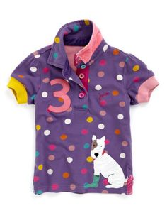 Joules Girls Polo Shirt, Purple.                     Animal magic! Full of country charm and character, perfect for a little farmyard style with a twist.