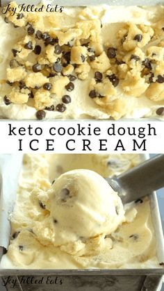 Keto Cookie Dough Ice Cream - Low Carb, Sugar-Free, THM S - Cool and creamy vanilla ice cream studded with chunks of raw chocolate chip cookie dough. This Keto Cookie Dough Ice Cream will be your dessert go to from the first bite. Keto Co Keto Cookies, Keto Cookie Dough, Helado Keto, Keto Eis, Low Carb Desserts, Low Carb Recipes, Dessert Recipes, Gluten Free Recipes, Chocolate Chip Cookies