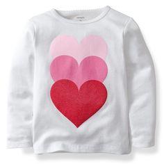 Carter's Girls Long Sleeve Valentine's Day Tee - Shopinzar.com #tshirts, #shirt