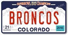Denver BRONCOS NFL Super Bowl 50 Champions Football License Plate Tag New #5
