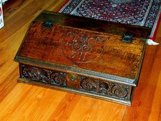 Kahn Fine Antiques offers one of country's finest collections of museum quality Nautical Antiques and Maritime works of art from the and century First Period, Lap Desk, Antique Boxes, Pyrography, Pilgrim, Dark Wood, 17th Century, Antique Furniture, Wood Grain