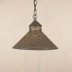Stockbridge Hanging Shade Light Willow Punched Tin Ceiling lamp Kitchen Irvins  $82