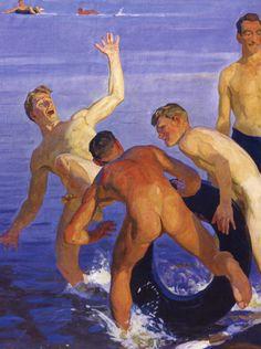 Dmitriy Zhilinsky | Bathing Soldiers (detail) 1959.