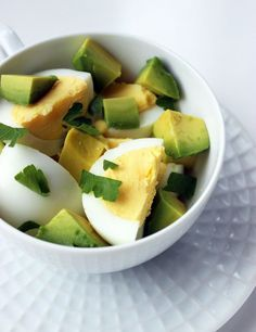 "This is one of those breakfasts that makes you go, ""why didn't I think of that?"" If you make some hard-boiled eggs at the beginning of the week, then you're just a ripe avocado away from tasty and hunger-fighting combination of hard-boiled eggs and avocado. Recipe from @POPSUGARFitness"