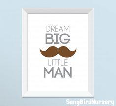 Boys Nursery Decor, Dream Big Little Man wall art for baby boys room, gift for baby boy nursery decor gift idea, boys nursery art print