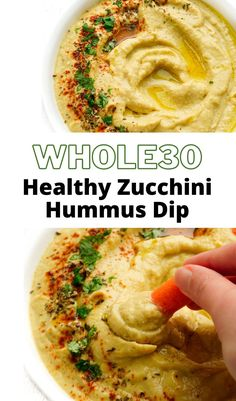 Zucchini Hummus that's perfect for an appetizer or healthy snack. Made with roasted veggies, tahini, and aromatic garlic. It's dairy-free, keto-friendly, paleo, and whole30 approved! #healthy #hummus #whole30 Zucchini Hummus, Healthy Hummus, Healthy Snacks, Healthy Recipes, Paleo, Keto, American Recipes, Gluten Free Dinner, Tahini