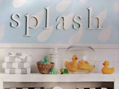 Love what they did with the duckies!  An idea for Lucky and Lovey. I want to incorporate them with V's room/bath.