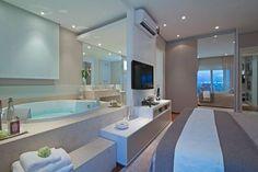 *banheiro integrado com o quarto Basement Inspiration, Bathroom Design Inspiration, Open Bathroom, Bathroom Interior, Cute Furniture, Barbie Dream House, Suites, Inspired Homes, Beautiful Bathrooms