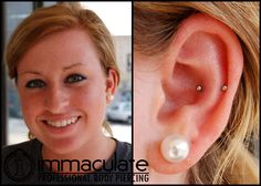 Faux Snug Piercing! Not everyone's anatomy is well suited to healing a snug piercing, a perfect option is a conch and helix piercing placed side by side to give the same look!